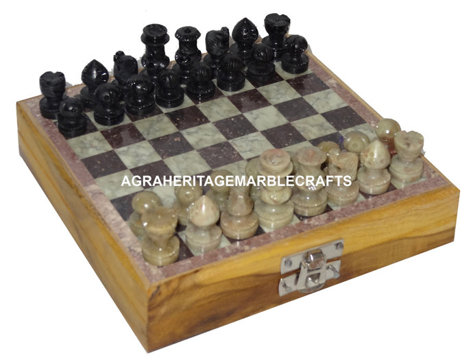 Buy Wooden Chess Set with Marble Chess Pieces Handmade Art Chess Lovers Gift
