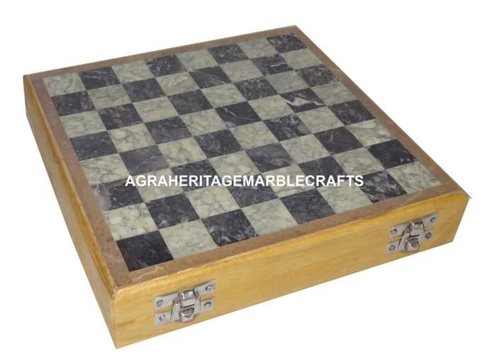 Marble Gorara Stone Chess Pieces Wooden Board Handicraft Set Play & Housewarming