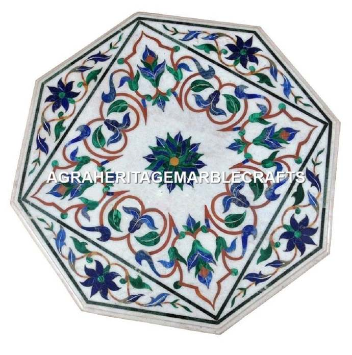 White Marble Side Coffee Table Top Lapis Lazuli Malachite Inlay Handicraft