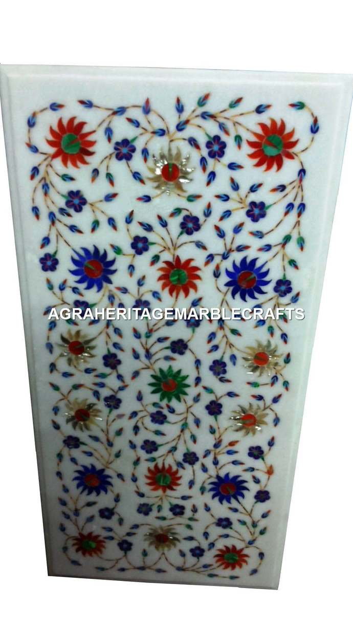 White Marble Dining Center Table Top Multi Inlay Precious Stone Floral Arts