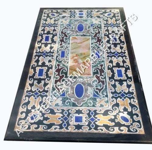Marble Black Dining Customized Table Top Marquetry Inlay Design Hallway Outdoor