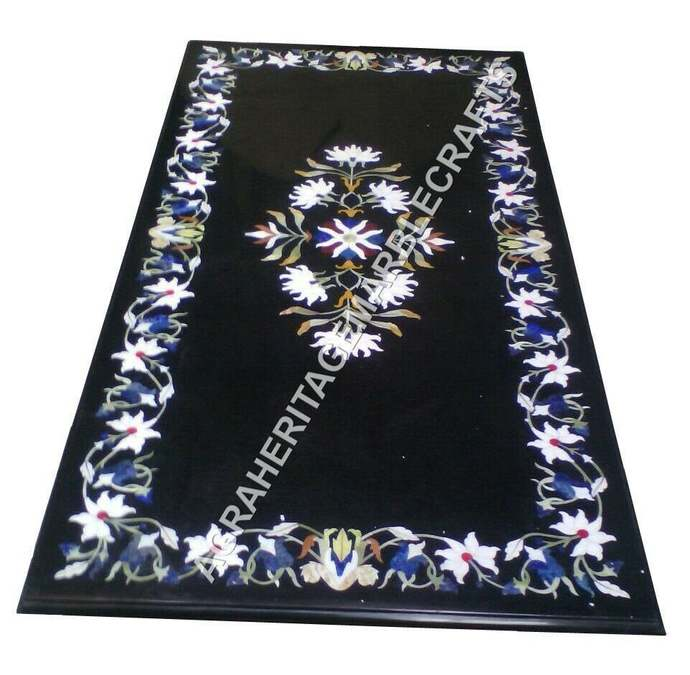 6'x3' Marvelous Marble Dining Restaurant Table Top Lapis Stone Marquetry Inlay