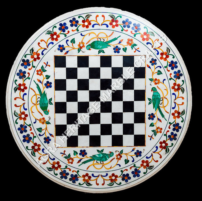 White Round Chess Dining Table Top Multi Floral Malachite Parrot Inlay Design