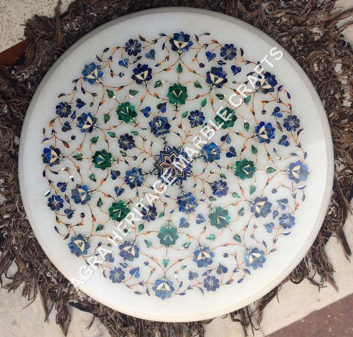 White Marble Round Coffee Table Top Malachite Lapis Inlay Floral Arts Bedroom
