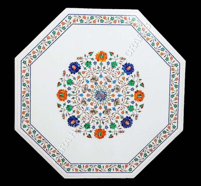 Handicraft Inlay Coffee Marble Table Top Multi Inlay Stone Stunning Design