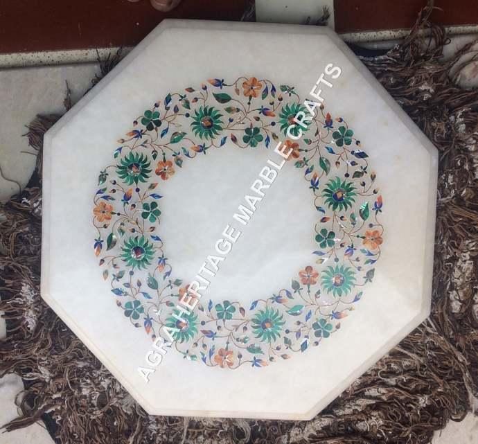 White Marble Small Coffee Table Top Malachite Multi Inlay Design Kitchen Patio