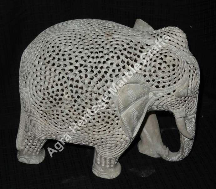 Filigree Marble Stone Elephant Statue Handmade Art Home Decorative Occasional