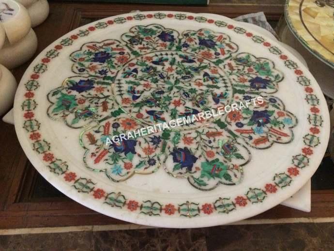 White Marble Round Plate Handicraft Inlay Multi Floral Design Hallway Kitchen