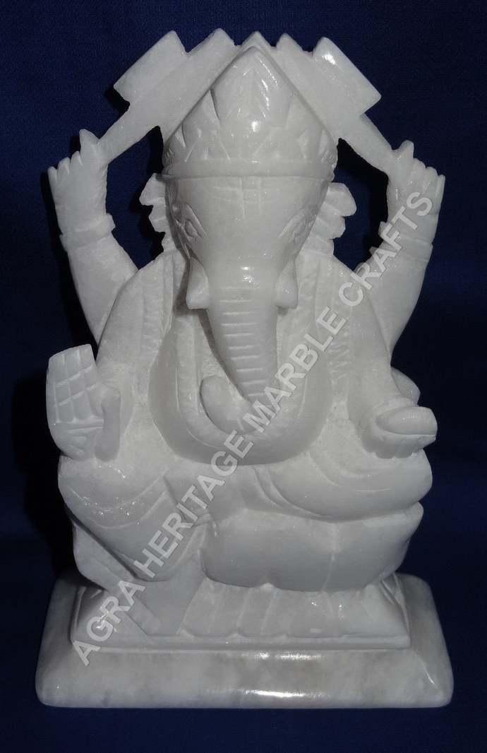 White Marble Ganpati Ganesha God Statue Handmade Art Hinduism Religious Idol