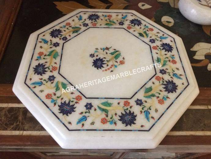White Marble Coffee Center Bedroom Table Top Multi Inlay Marquetry Floral Arts