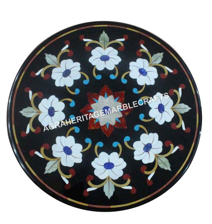 Marble Black Round Coffee Console Table Top Marquetry Inlay Handicraft Floral