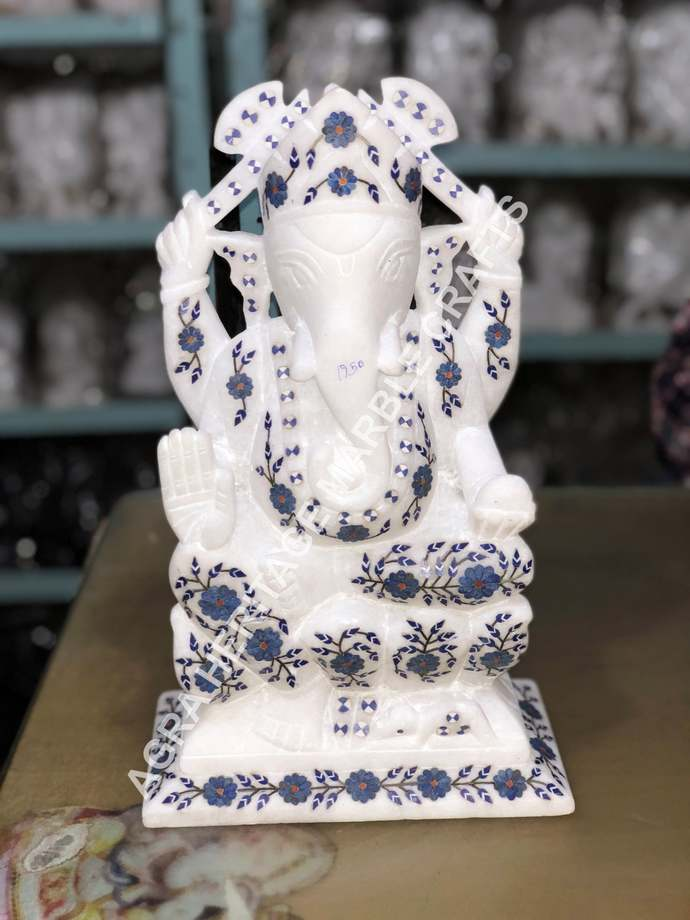 White Marvelous Marble Lord Ganesh Religious Statue Lapis Lazuli Inlay Floral