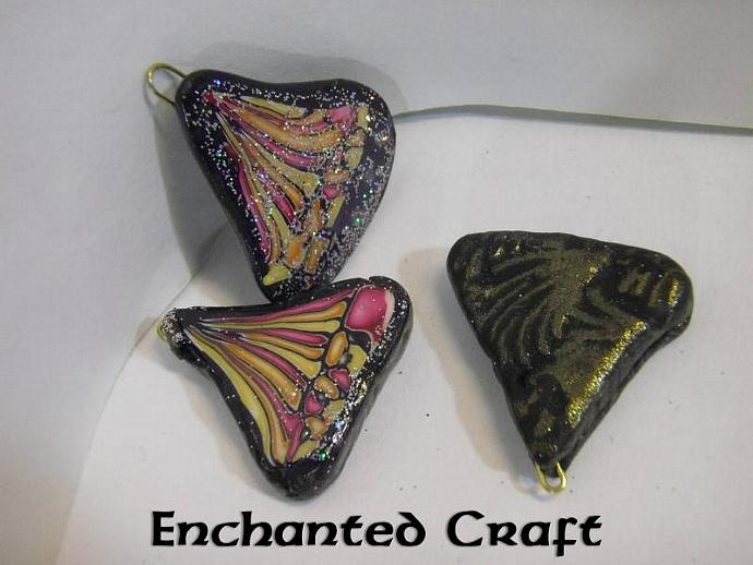 Polymer clay components- set of three butterfly wing style