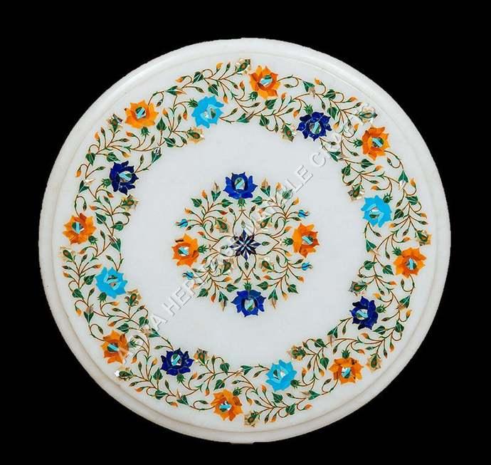 White Marble Coffee Handicraft Table Top Lapis Turquoise Malachite Multi Inlay