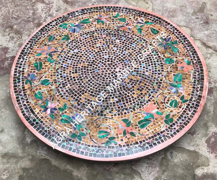 Multi Inlay Gemstone Marble Round Dining Outdoor Center Table Top Corridor