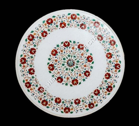 White Marble Round Coffee Top Carnelian Malachite Inlay Floral Marquetry Arts