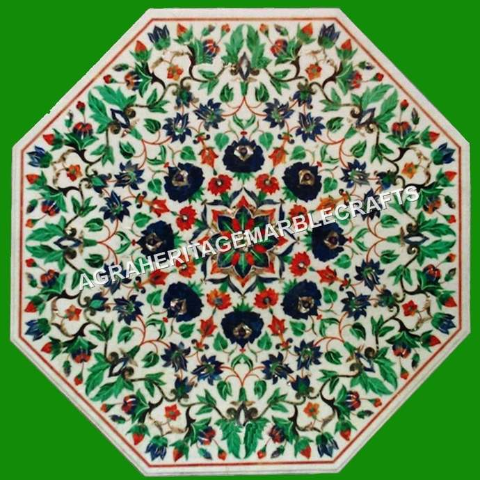 White Marble Coffee Center Table Top Malachite Lapis Inlay Floral Marquetry Art
