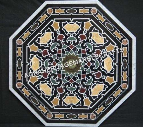 Black Marble Center Dining Table Top Handicraft Inlay Deisgn Outdoor Hallway