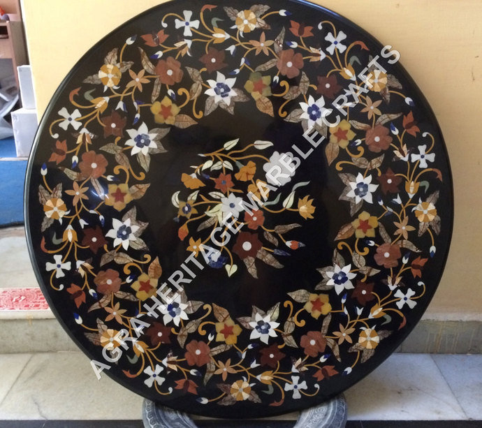Elegant Marble Dining Round Outdoor Table Top Pietra Dura Stone Multi Floral