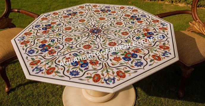 """Marble White Dining Table Top 50"""" Multi Semi Precious Stones Carnelian Lapis"""