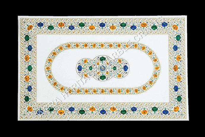 White Marble Inlay Big Dining Table Top Malachite Lapis Lazuli Multi Stone