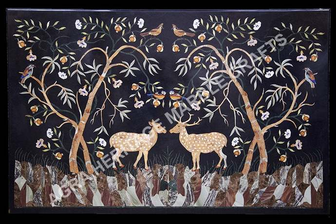 Black Marble Big Dining Table Top Marquetry Inlay Deer Arts Living Room