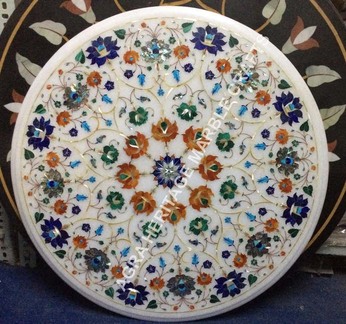 Modern Marble White Coffee Outdoor End Table Top Multi Marquetry Inlay Floral