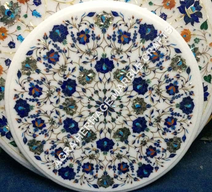 Round White Marble Top Coffee Center Table Lapis Floral Inlay Precious Gemstone