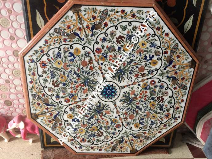 Gorgeous White Marble Dining Pietra Dura Table Top Peacock Floral Inlay