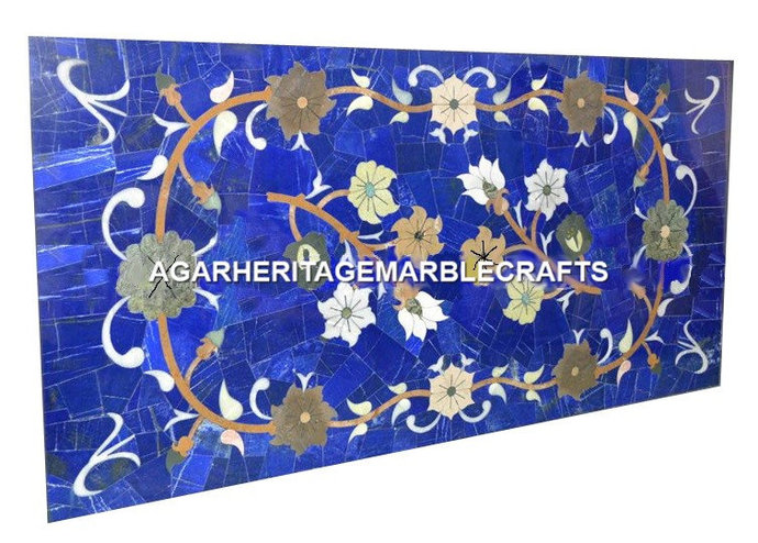 Random Marble Big Dining Conference Table Top Floral Marquetry Inlay Living Room