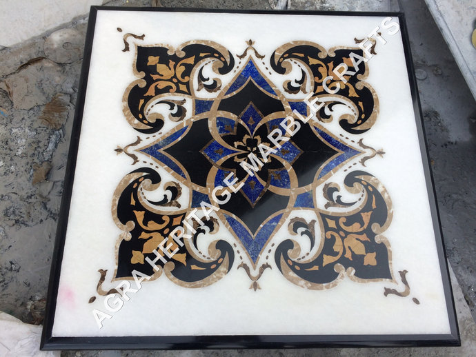 Italian Marble Top Side Dining Fine Inlay Square Table Restaurant Home Corridor