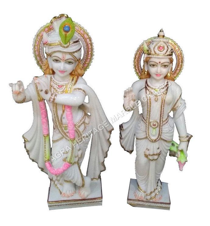 Religious Statue White Marble Radha Krishna Sculpture Hand Painted Art Divine