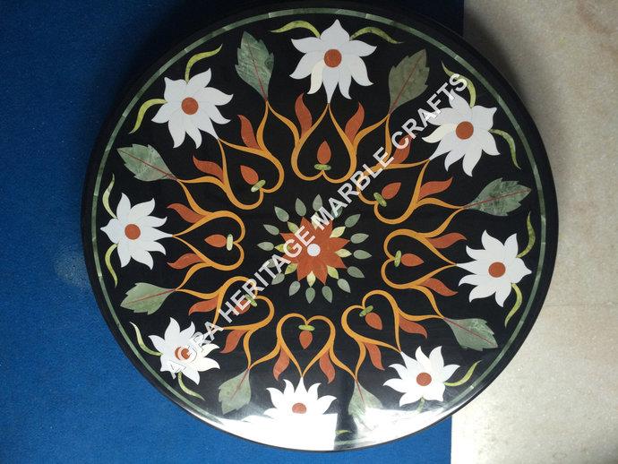 Coffee Top Black Marble Round Center Table Pietra Dura Inlay Handmade Art