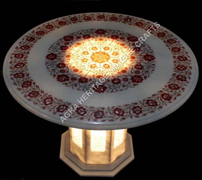 Marble Counter Height Dining Stand Table Top Carnelian Inlay Floral Arts Home