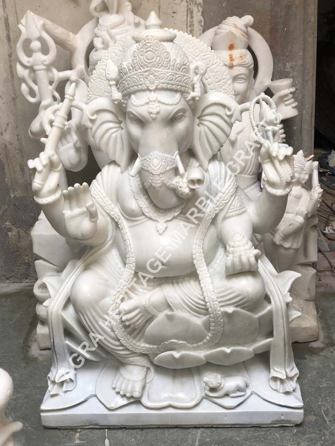 """Marble Big Ganpati Ganesha Statue 48"""" Tall Handmade Art Idol Religious Murti"""