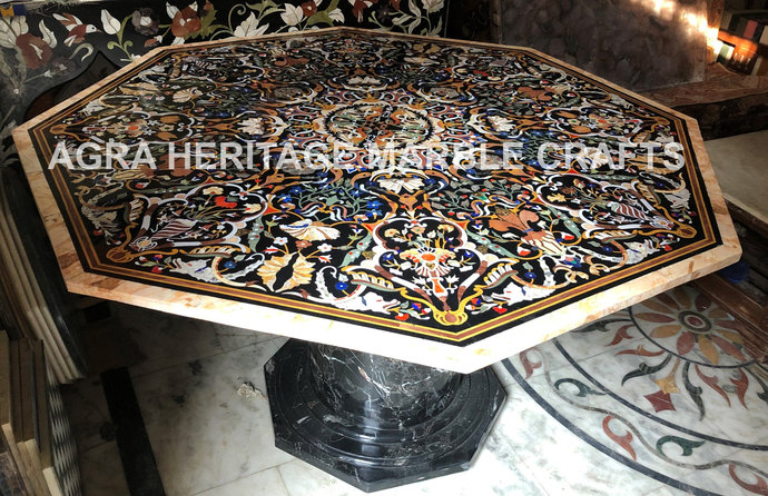 Exclusive Marble Top Dining Stand Table Pietra Dura Inlay Arts Restaurant Center