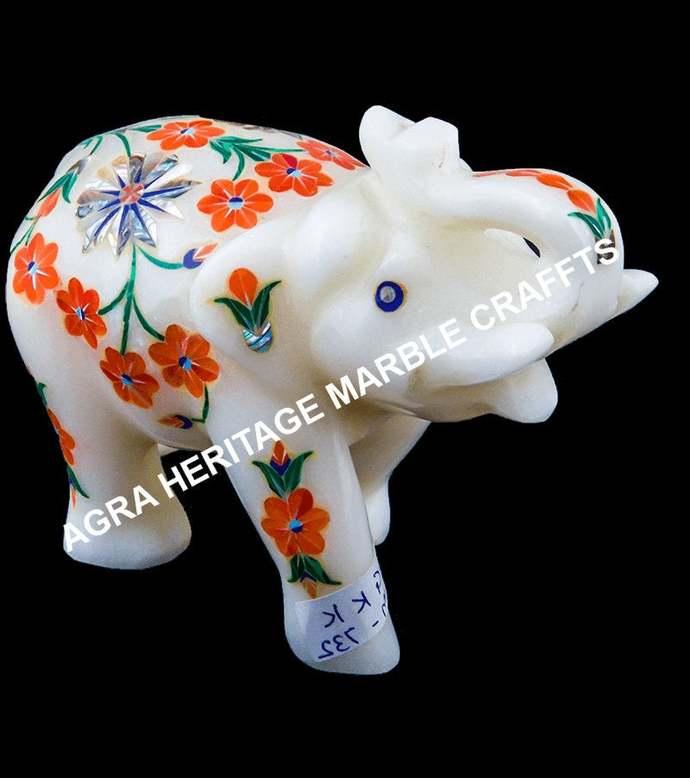 Marble Trunk Up Baby Elephant Hakik Malachite Inlay Floral Arts Small Showpiece