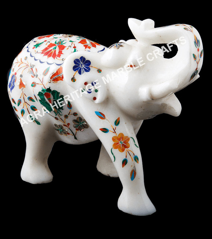 White Marble Elephant Sculpture Multi Inlay Marquetry Floral Arts Decorative