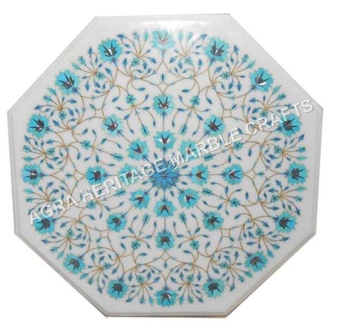 White Marble Small Coffee Center Table Top Turquoise Inlay Floral Arts Kitchen