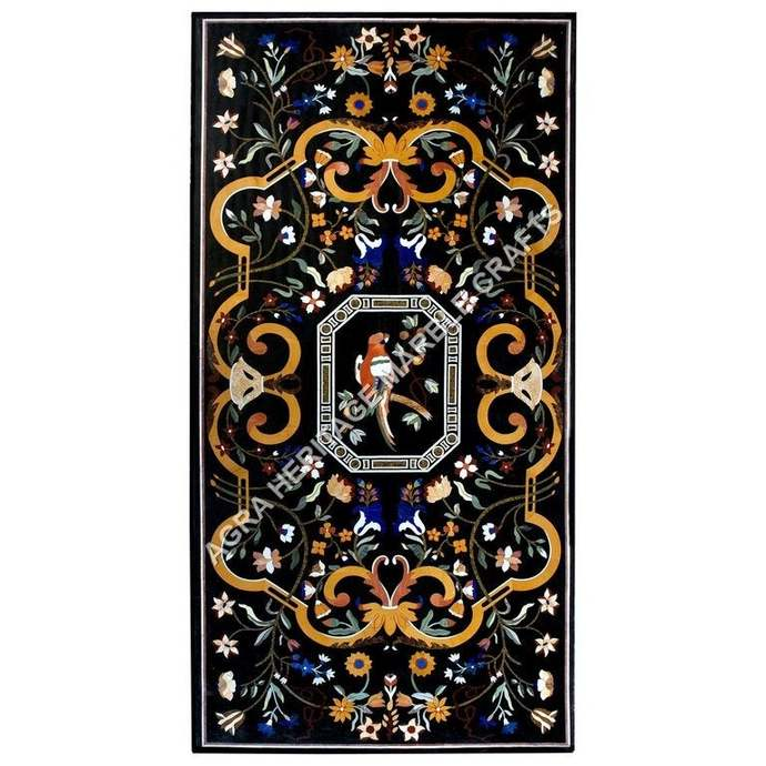 Exclusive Marble Dining Center Conference Table Top Marquetry Floral Bird Inlay