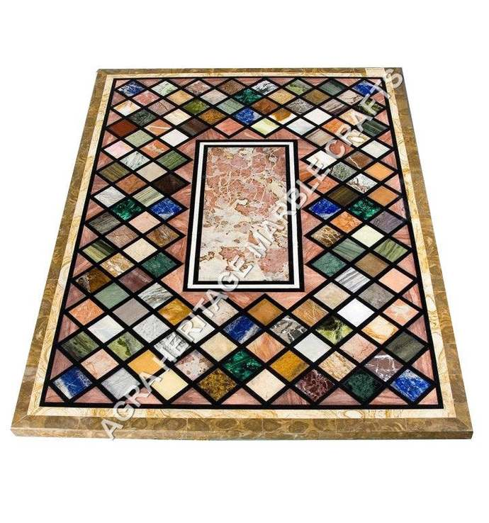 Modern Marble Top Dining Rectangle Table Mosaic Multi Inlay Halloween Decorative