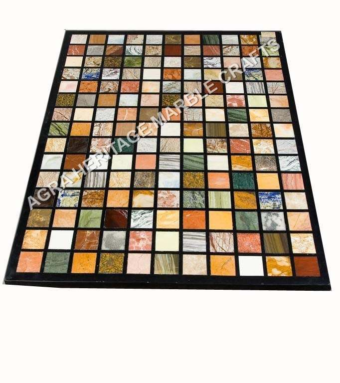 Decorative Marble Side Dining Center Table Top Multi Inlay Stone Halloween Gift