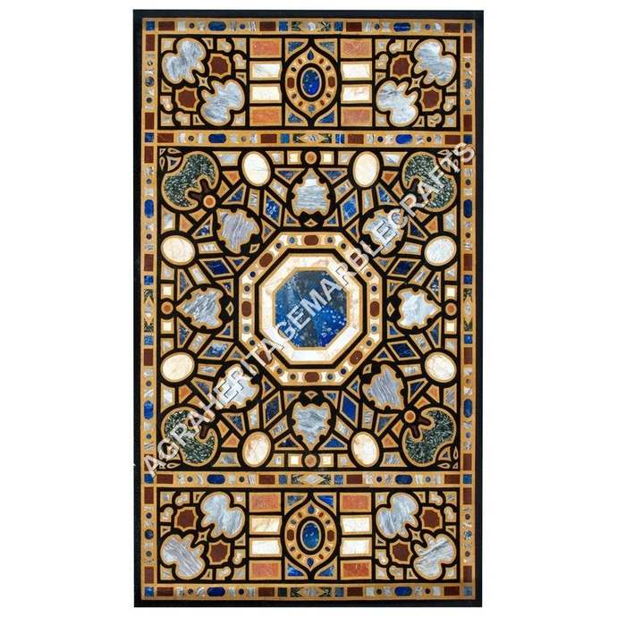 Marble Dining Hallway Outdoor Table Top Marquetry Inlay Multi Stone Living Room
