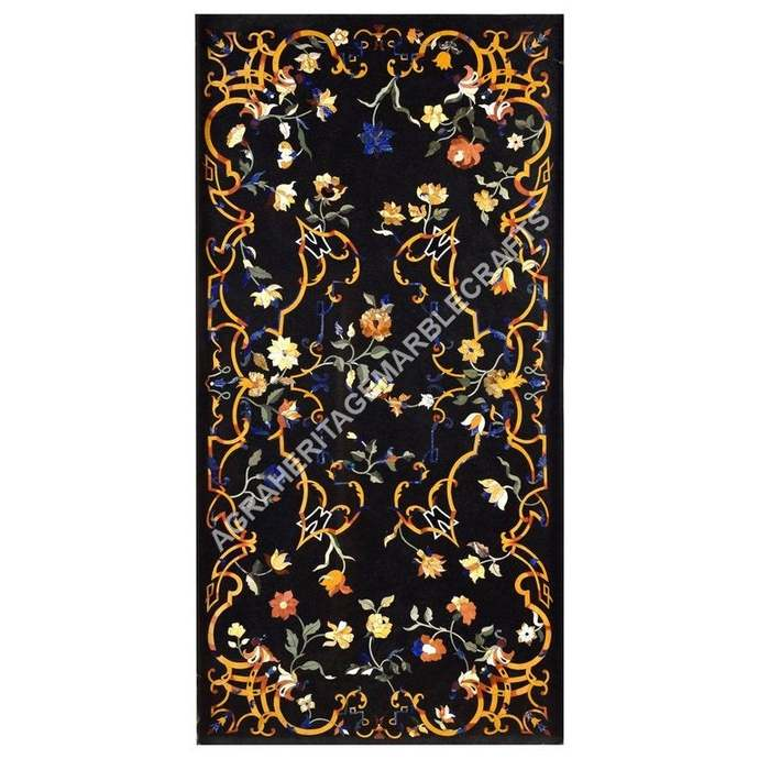 Exclusive Marble Dining Outdoor Living Room Table Top Marquetry Floral Inlay