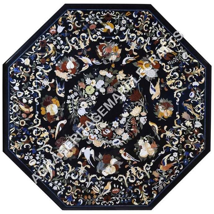 Black Marble Dining Table Top Birds Inlay Art Pietra Dura Fruits Inlaid Art Home