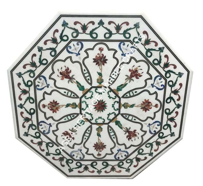 White Marble Top Dining Table Pietra Dura Inlay Handicraft Design Home Interior