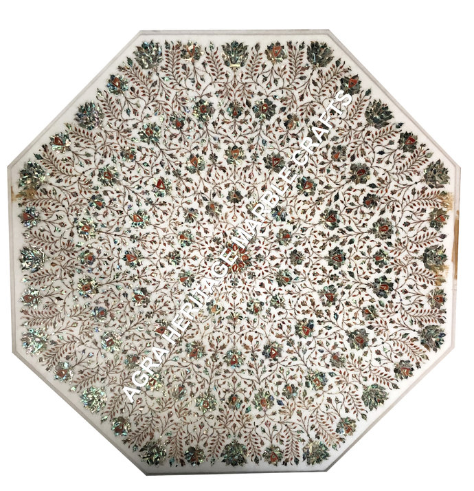 Marble Dining Living Room Table Top Pauashell Inlay Gemstone Floral Art