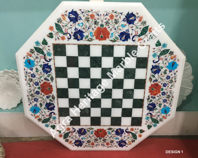 White Marble Coffee Side Chess Table Top Semi Precious Play Chess Game Multi