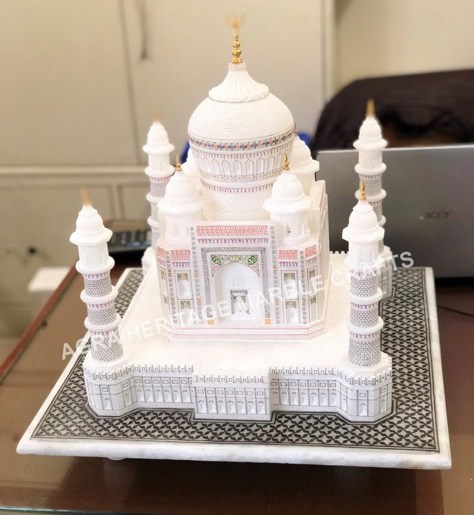 White Marble Taj Mahal Replica Handmade Historical Statue Memorable Thanksgiving