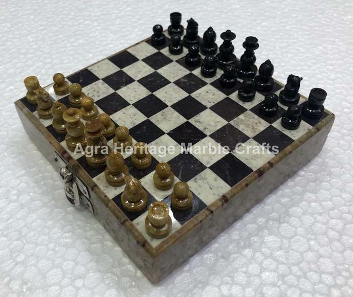 Marble Chess Set Ebony Play Board games Handcrafted Stone Chess Pieces Art